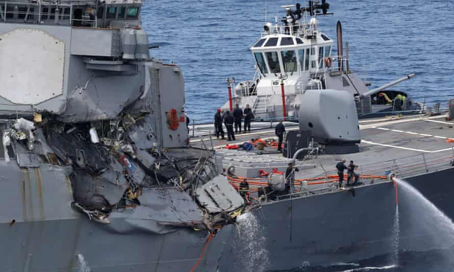 This picture shows damage on the guided missile destroyer USS Fitzgerald.