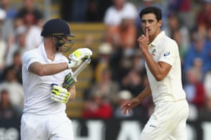 Mitchell Starc gloats at Ben Stokes after launches a fabulous outswinger, which pitches leg, hits off and brings the scalp