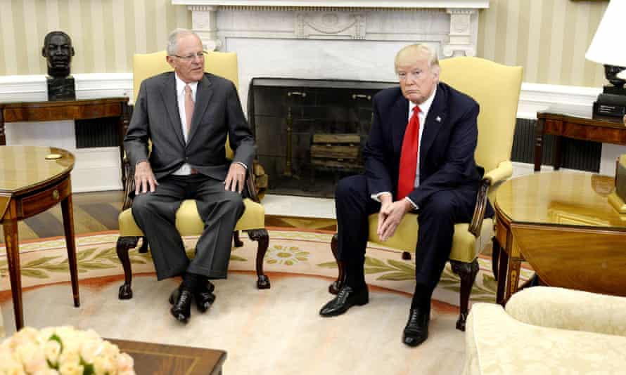 Pedro Pablo Kuczynski meets with Donald Trump at the White House on 24 February.