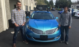 Sameep Tandon (right) and Tory Smith at startup Drive.ai in Mountain View, California.