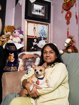 Amanda Serrano, a 48-year-old care assistant, lives with her boyfriend Arturo Saucedo and dogs Princess and Ruby in an ageing trailer bristling with CCTV cameras. Serrano, who came to California from Nicaragua 38 years ago, says Buena Vista is the first place she has felt comfortable living openly as a transsexual and she fears for her safety if she is forced to move. 'I'd rather kill myself than be homeless,' she says. 'I suffered a lot a long time ago while I was homeless. I am so scared. I have been assaulted in other cities'