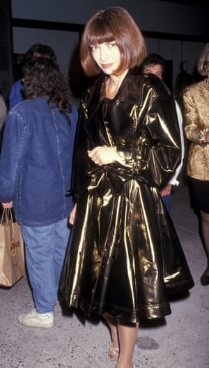 In a metallic trench at the opening of Galleries Lafayette at Trump Towers in New York, 1991.