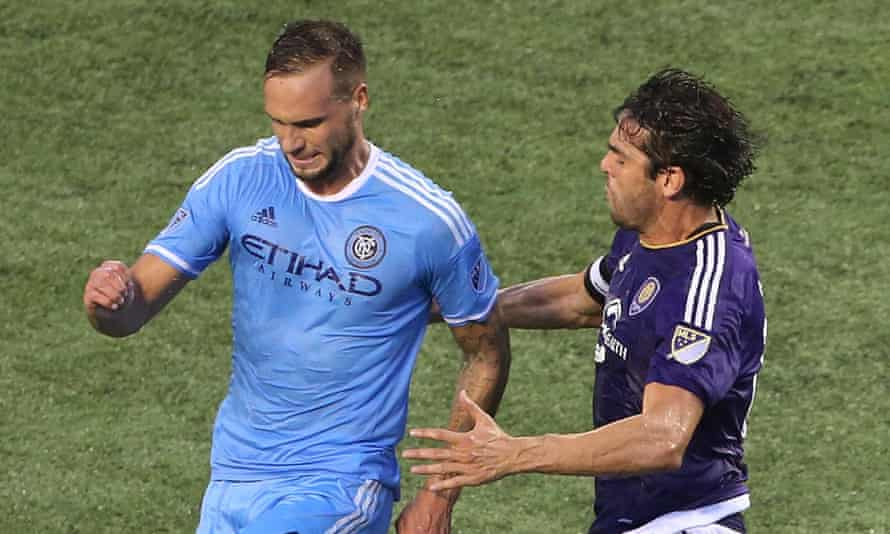 New York City FC's Maxime Chanot and Orlando City's Kaka, right, battle for the ball. Orlando came out on top 2-1.