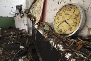 A clock in a second-floor classroom at Okawa elementary school, which stopped at 3.36pm, about 50 minutes after the earthquake.
