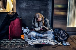 Jane, with her polecat, Troy, homeless on Oxford Street