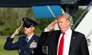 President Trump salutes as he arrives at Morristown airport in New Jersey last week