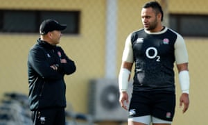 Eddie Jones speaks to Billy Vunipola with the England forward receiving a formal warning by the Rugby Football Union for an Instagram post.