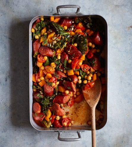 Nik Sharma's roast sausage, chickpea and autumn vegetables.