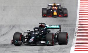 Hamilton leads Verstappen.