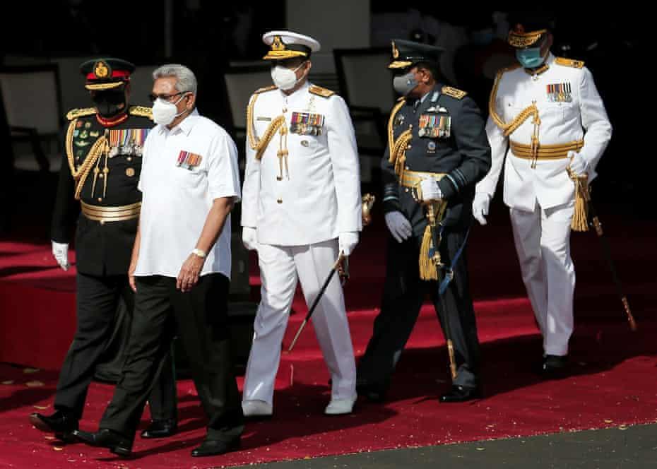 Sri Lanka's President Gotabaya Rajapaksa arrives at independence day celebrations in Colombo on 4 February.