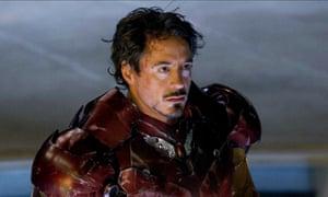 Robert Downey Jr in Iron Man.