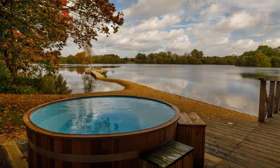 The wood-clad hot tub.