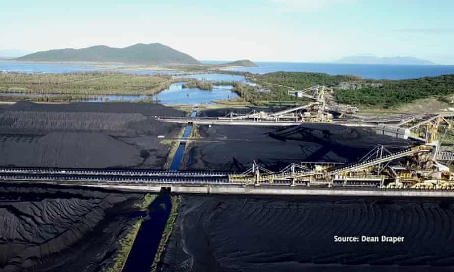 Aerial footage of the Abbot Point coal port bordering the Caley valley wetlands.