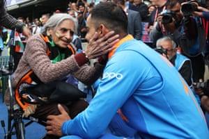 India captain Virat Kohli ceelbrates the win with fan Charu Lata Patel.