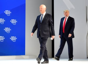 President Donald Trump and Klaus Schwab, founder and executive chairman of the World Economic Forum (WEF), attend the event