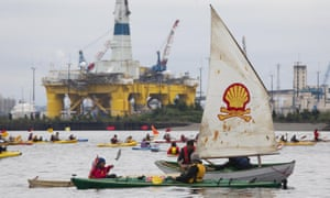 'Shell No' protesters take to the water on Saturday to protest near Royal Dutch Shell's Polar Pioneer drilling rig near Seattle