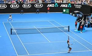 Maria Sharapova and Caroline Wozniacki during their women's singles match on day five of the Australian Open.