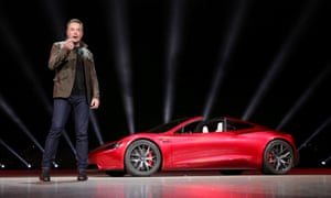 Elon Musk unveils Tesla's forthcoming Roadster 2 sports car in California.