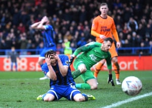Ollie Rathbone of Rochdale reacts after a missed chance.