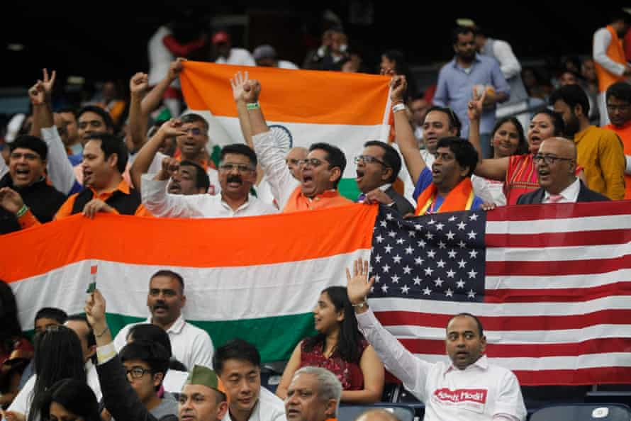 Crowds chant as they wait for the Indian prime minister, Narendra Modi, and Donald Trump to speak at the 'Howdy Modi' event in Houston, Texas, in 2019.