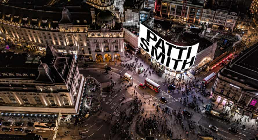 How Patti Smith's performance will appear in Piccadilly Circus on New Year's Eve.