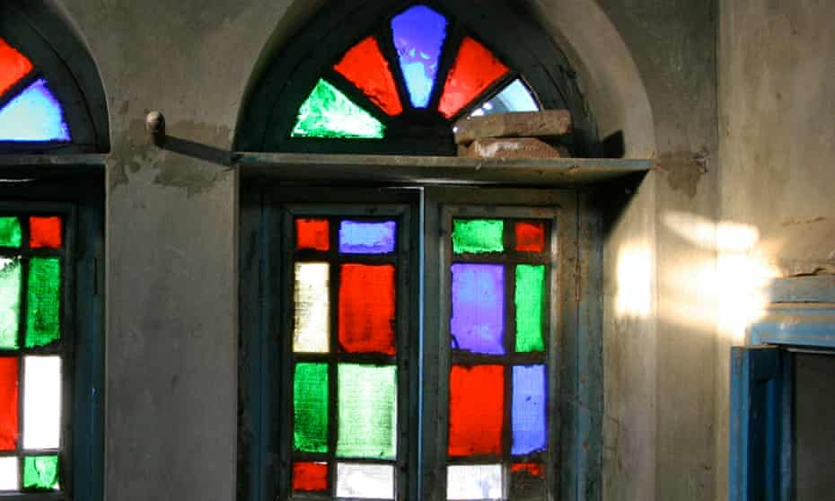 Stained glass windows at Singh Dhillon's family home.