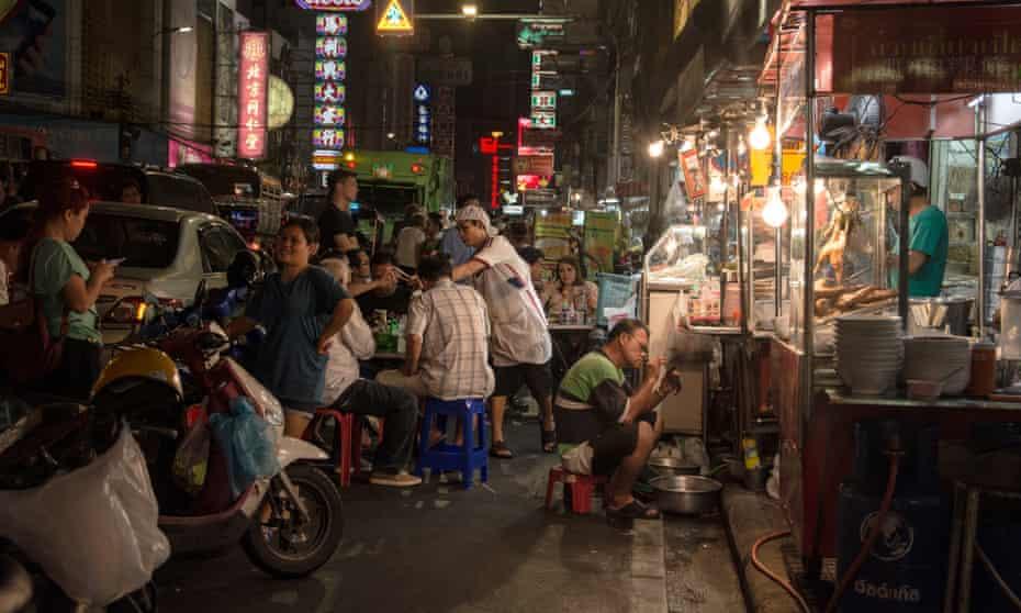 Street food stalls in a bangkok street