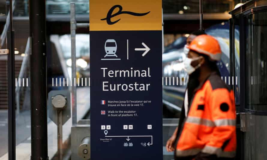 An information board at the Eurostar terminal at Gare du Nord train station in Paris