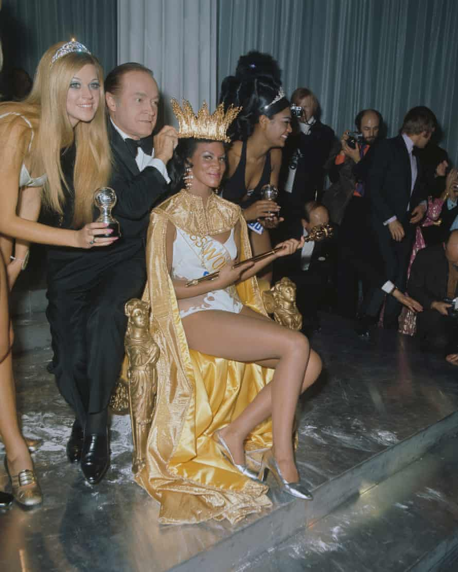 Crowning glory: Bob Hope with Miss Grenada, Jennifer Hosten, who became Miss World at the controversial 1970 ceremony.
