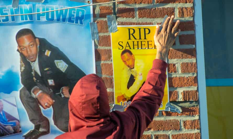 Friends and supporters at site in Brooklyn where Saheed Vassell was killed by pollice.