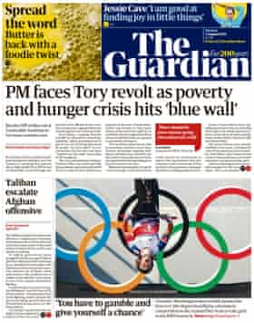 Guardian front page, Monday, 2 August, 2021