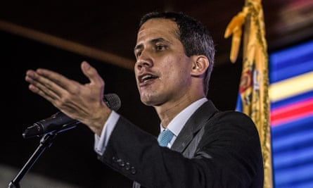 Juan Guaidó delivers a speech during his presentation of an economic and social rescue plan for the country in Caracas on 31 January.