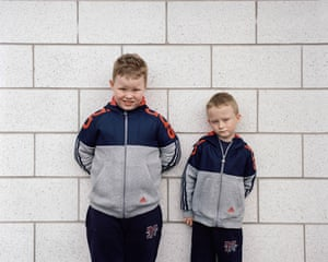 Thomas and James, Age 6, Retail Park Wearing jackets by Adidas