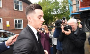 Tom Lawrence arrives at Derby magistrates court on Tuesday.