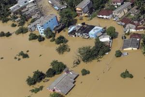 Aerial view of flooded area of Kiriella in Ratnapura district, Sri Lanka, on 27 May 2017