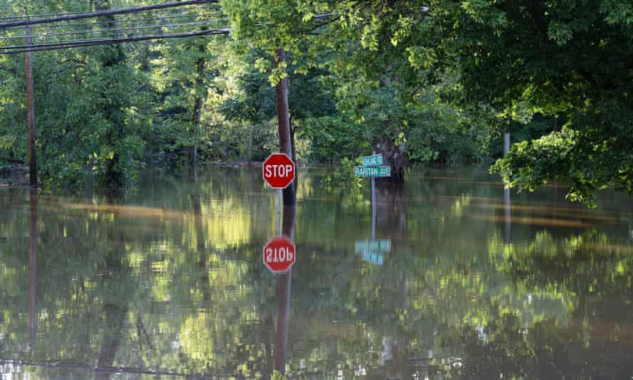A view of floodwater covered streets in Middlesex, New Jersey, after Hurricane Ida left behind flash floods up the east coast.
