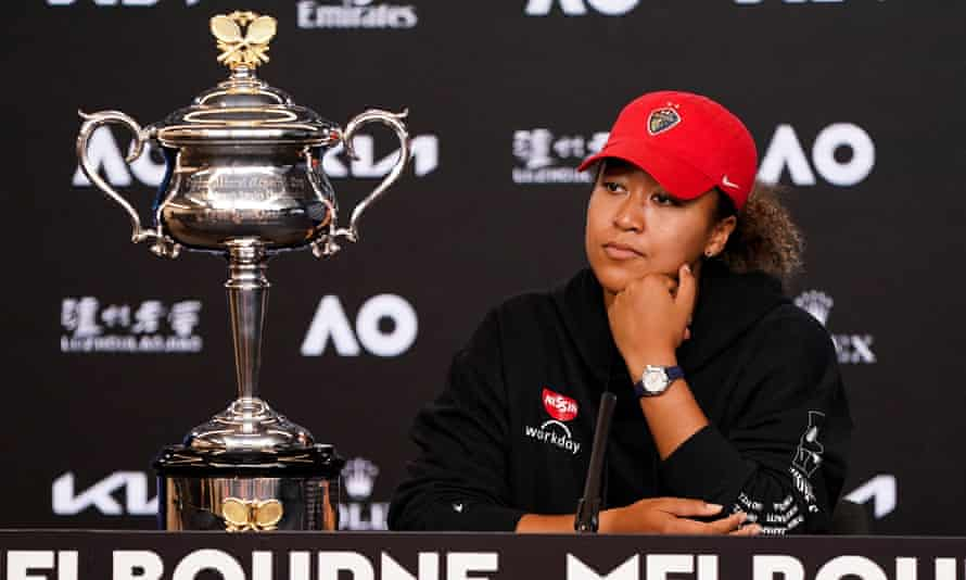 Naomi Osaka at a press conference after winning the Australian Open in Melbourne, February 2021