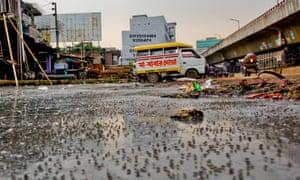Dhaka sewage on streets