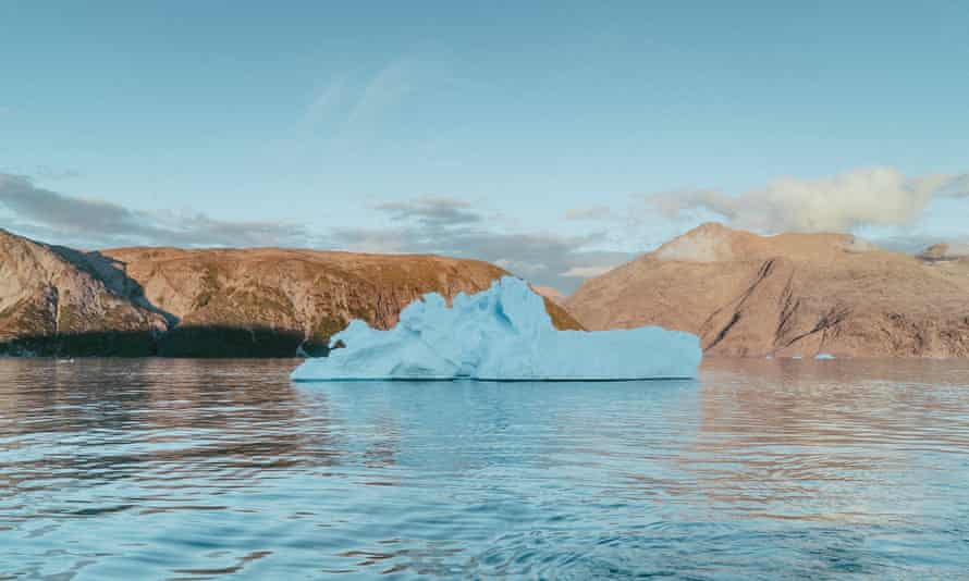 An iceberg floating in South Greenland.