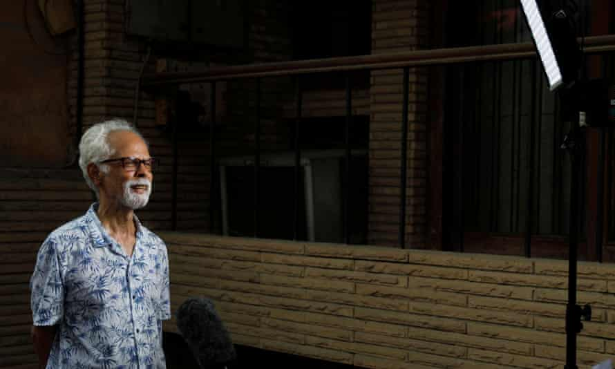 Gopalan Balachandran talks to the media outside his house in New Delhi, India, on 12 August 2020.