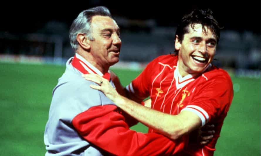 Liverpool manager Joe Fagan and Michael Robinson celebrate after victory in the 1984 European Cup final.