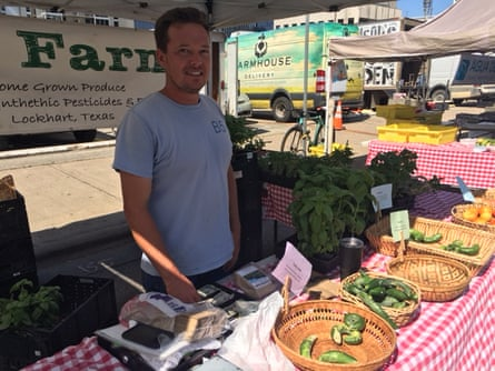 Jamie Gage at the farmer's market in Austin. He says he has concerns about the future of high-end food.