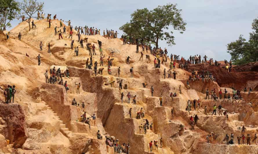 Workers at a gold mine in Central African Republic