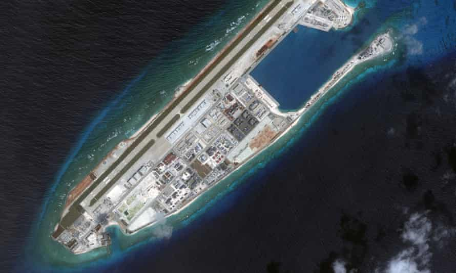 Fiery Cross reef in the Spratly Islands chain in the South China Sea. Australia says 'there is no legal basis' for Beijing's disputed territorial claims in the South China Sea