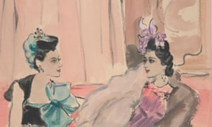 Illustration of Madame Jean Ralli (left) wearing a plumed velvet pillbox hat of turquoise and velvet by Suzy, and a Molyneux crepe dress in black with a turquoise bow and turquoise jewels; Princess Karam of Kapurthala (right) wearing a Reboux pyramid of orchids on a small cap with a Mainbocher lame dress and cape in half beige and half blue fox detailed with amethyst jewels – Vogue, 1939.
