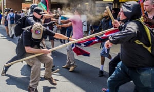 Neo-Nazis clash with anti-fascist counterprotesters at the Unite the Right rally in Charlottesville, 2017
