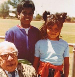 Ngarra Murray and Jida Gulpilil with their great-grandfather, pastor Sir Doug Nicholls.