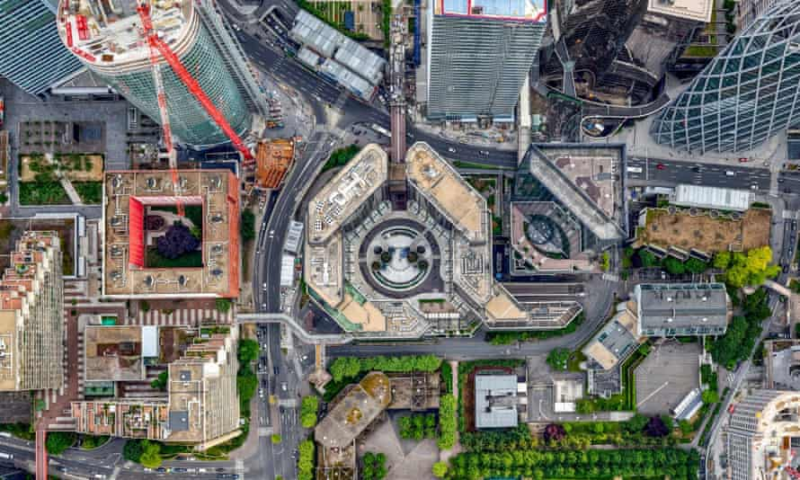 Aerial view of La Defense, Paris.