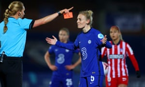 Sophie Ingle of Chelsea reacts after being shown a red card by referee Tess Olofsson.