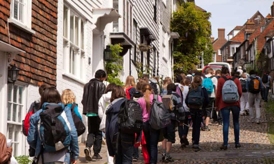 A party of French schoolchildren exploring Rye in East Sussex.